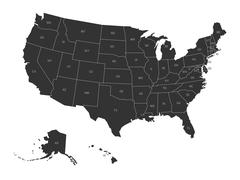 Map of USA with state abbreviations Stock Illustration
