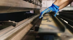 Work at the factory on the machine Stock Footage