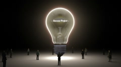 Typo 'Success Project' in light bulb and surrounded businessmen, idea concept - stock footage