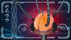 Futuristic robot with tentacles and human brain . concept anatomical future Arkistovideo