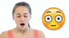Girl Shows Different Emodji Emotions Stock Footage
