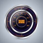 Fully digital speedometer rev counter in orange purple - stock illustration