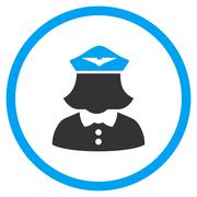 Airline Stewardess Circled Icon - stock illustration