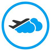 Airplane Over Clouds Rounded Icon - stock illustration