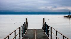 pier on Geneva lake - stock photo