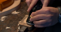 Violin maker Cine 4k - woodwork 3 Stock Footage