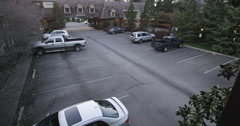 Surveillance footage of inn parking lot in Grants Pass area in Oregon - stock footage