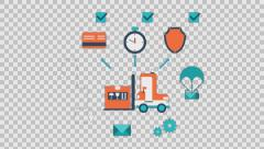On time delivery - colored animation flat computer generated icons clips alpha Stock Footage