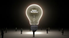 Typo 'digital marketing' in light bulb and surrounded businessmen, idea concept - stock footage