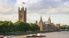 Parliment Houses on the River Thames Stock Footage