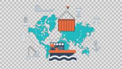 maritime shipment - colored animation flat computer generated icons clips alpha - stock footage