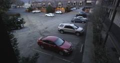 Surveillance footage of inn parking lot in Grants Pass area in Oregon Stock Footage