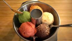 Mix flavor and colorful Ice cream on stainless bowl, 4K - stock footage