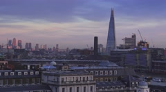 The Shard Building and London East End skyline Stock Footage