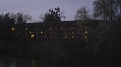 Evening at a riverside inn in Grants Pass area in Oregon - stock footage