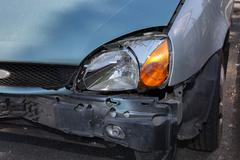 Automobile crash accident on street, damaged cars after collision in city Stock Photos