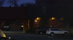 Lodge at night near Grants Pass, Oregon - stock footage