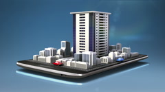 Touching real estate application, constructed building on a smart phone,mobile - stock footage