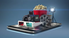Explain various movie download internet service for Smart phone. mobile 1 Stock Footage