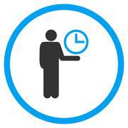 Waiter Circled Icon - stock illustration