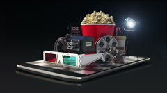 Explain various movie download internet service for Smart phone. mobile 2 Stock Footage