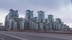 Futuristic apartments flats at St. George Wharf - stock footage
