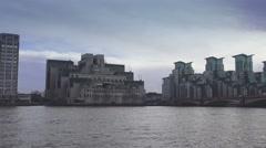 MI6 Building at River Thames Secret Service MI-6 Stock Footage