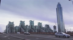 Futuristic apartments flats at St. George Wharf Stock Footage