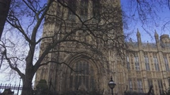 Westminster Houses of Parliament on a sunny day - stock footage