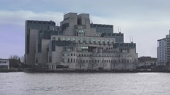 MI6 Building at River Thames Secret Service MI-6 Stock Footage