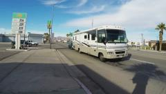Camper Recreational Vehicle Traffic At Intersection- Parker AZ Stock Footage