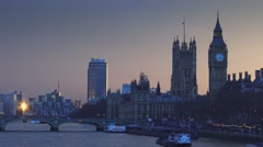 Queen Elizabeth Tower Westminster and Houses of Parliament Stock Footage