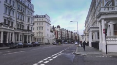 Typical London street view in Kensington - stock footage