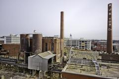 Smokestack  and buildings at Reynolds Tobacco Bailey Power Plant. Winston Sal Stock Photos