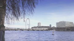 Westminster County Hall and River Thames - stock footage
