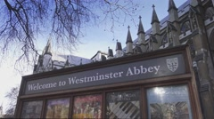 Stock Video Footage of Welcome to Westminster Abbey sign