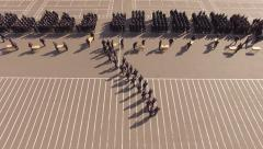 Police Academy. Recruits Standing on the parade ground. Aerial Stock Footage
