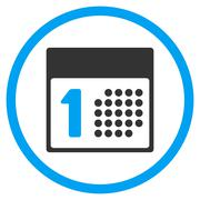 First Day Rounded Icon Stock Illustration