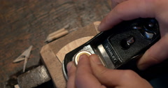 Violin maker Cine 4k - woodwork Stock Footage