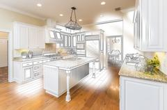 Beautiful Custom Kitchen Design Drawing and Brushed In Photo Combination. Stock Photos