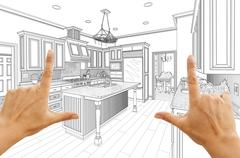 Female Hands Framing Custom Kitchen Design Drawing. Stock Photos
