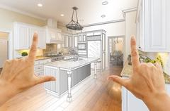 Hands Framing Gradated Custom Kitchen Design Drawing and Photo Combination Stock Photos