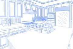 Beautiful Custom Kitchen Design Drawing in Blue on White. Stock Photos