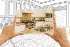 Hands Framing Custom Kitchen Design Drawing and Square Photo Combination Stock Photos