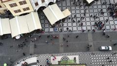 View on the people on market square in Prague from bird's eye view Stock Footage