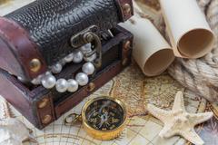 Concept in antique style: adventure - stock photo