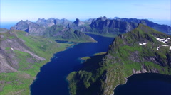 Flying above Lofoten islands in Norway - stock footage