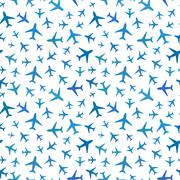 Many blue planes icons on white, seamless pattern Stock Illustration