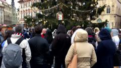 People stand in front of the Christmas tree Stock Footage
