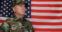 Determined Military Soldier Looking Fixed Stay Stood Position Honoring USA Flag Stock Footage